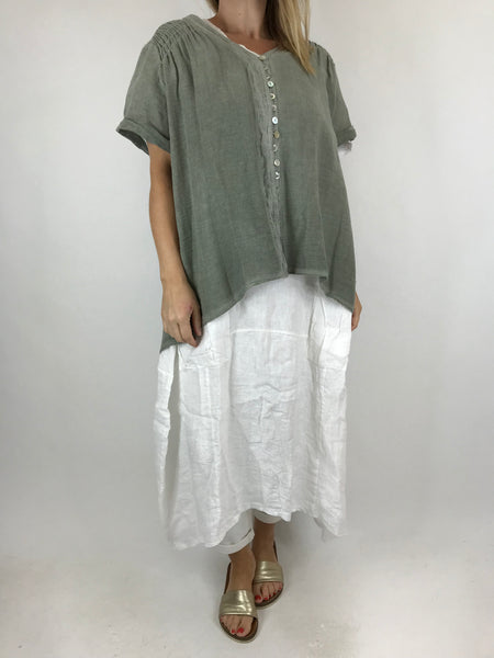 Lagenlook Sakina button top in Khaki. Code 02055