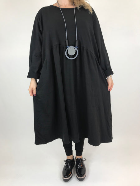 Lagenlook Tilbury Circle Shape Tunic in Black.code AB602