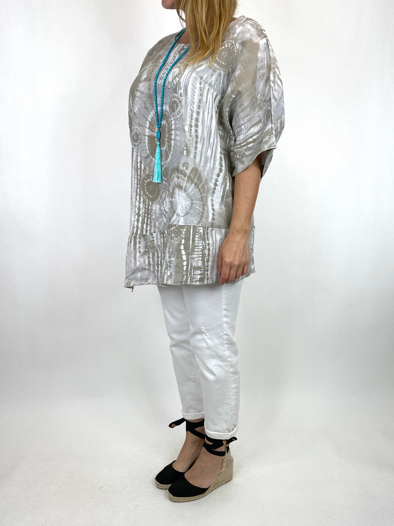 Lagenlook Tye-dye Top in Cream Regular Size. code 6688