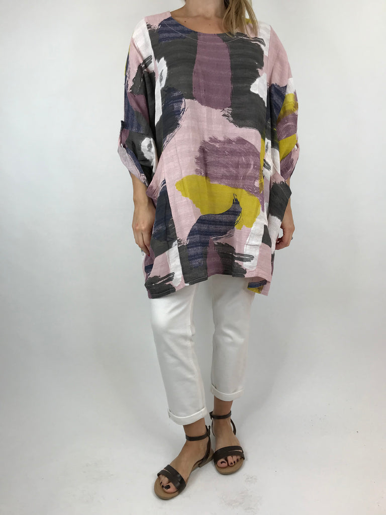 Lagenlook Mia Paint Splash Print Top in Pale pink. code 90754