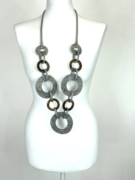Lagenlook Tribal Pale Grey POP Shell Necklace .Code F72