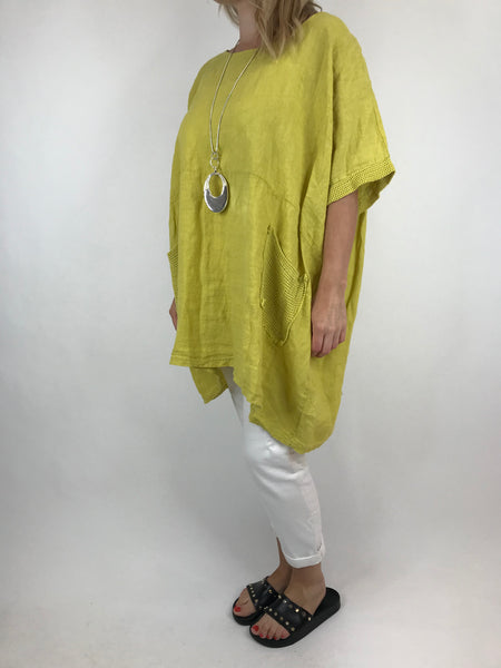 Lagenlook Mesh Pocket Linen top in Yellow. code 5806