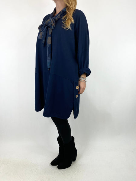 Lagenlook Alice Scarf Button Top in Navy. code 10559