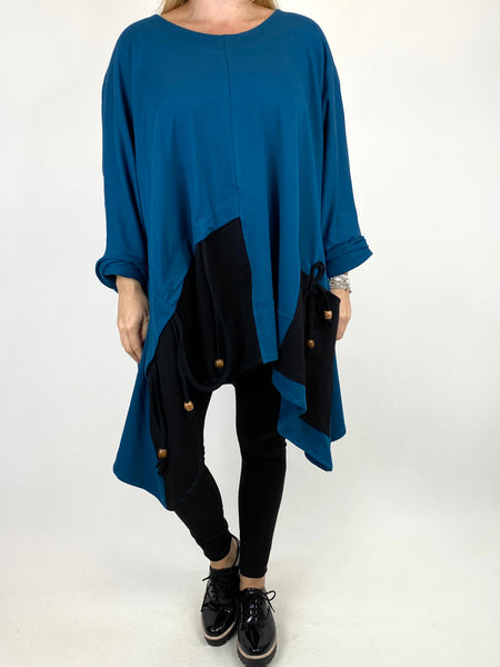 Lagenlook Sammy Jersey Bead Top in Teal. code 910881