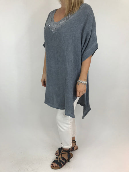 Lagenlook Stella Sequin Neck Summer Top in Denim. code 8394