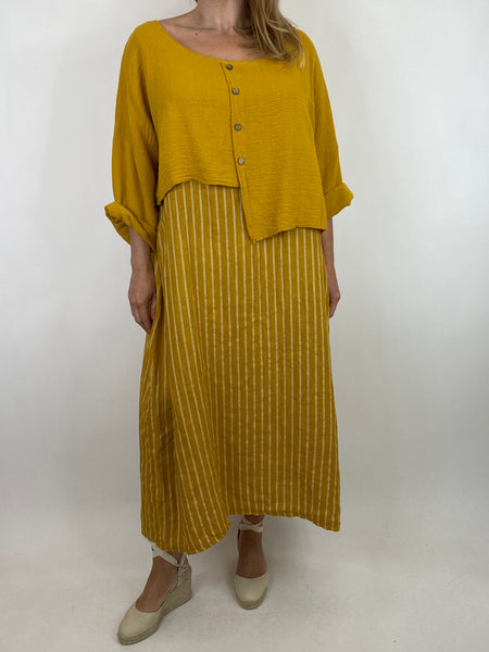 Lagenlook Lucy Stripe Over tank Tunic in Yellow. Code 88213