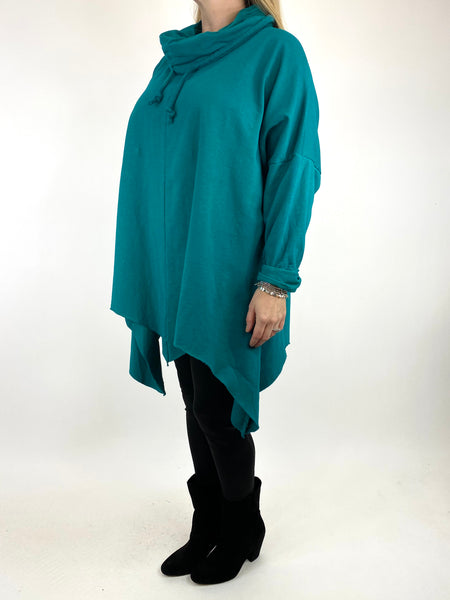 Lagenlook Tanner Plain Cowl Top in Jewel Green. code 50003