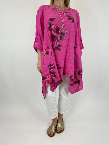 Lagenlook Cotton Flower panel top in Fuchsia. code 92201