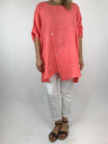 Lagenlook Lydia button Top in Coral. code 5711