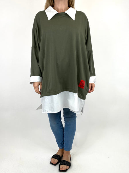 Lagenlook Cassie Cotton Shirt Top in Khaki. code 91205 - Lagenlook Clothing UK