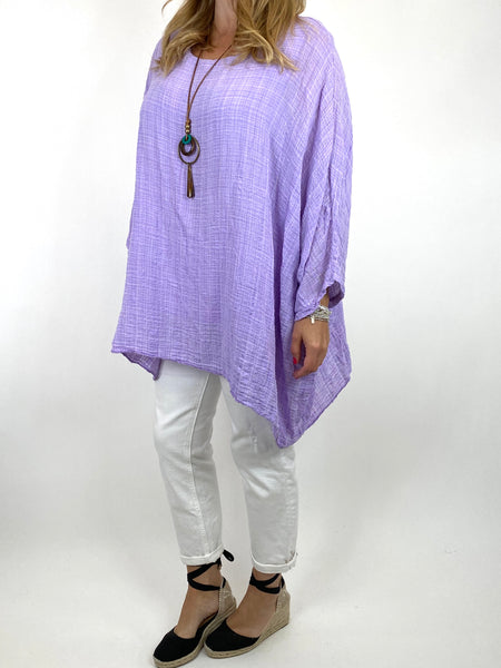 Lagenlook Nina necklace top Regular size in Lilac. code 9066