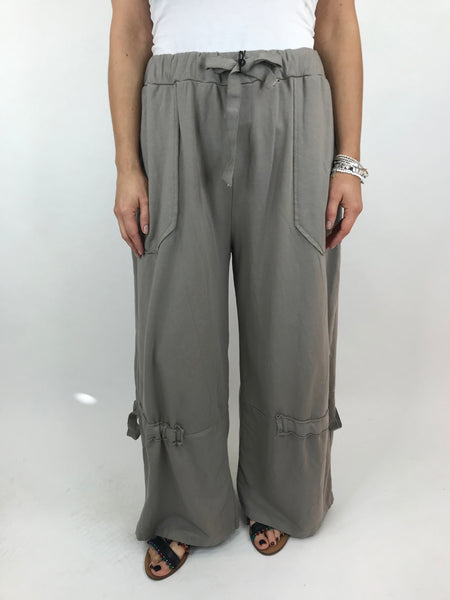 Lagenlook Cotton Wide leg Sweatshirt Trousers in Mocha . code 5654