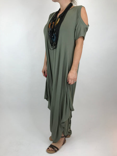 Lagenlook Made in Italy Jersey Jump Suit in Khaki. code 1544