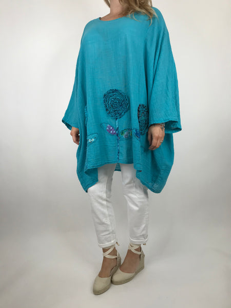 Lagenlook Dalia Flower hem in Aqua Blue . Code 90969