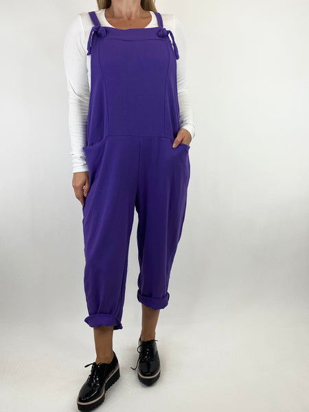 Lagenlook Dakota PlainMade in Italy Dungarees in Purple. code 6777 - Lagenlook Clothing UK