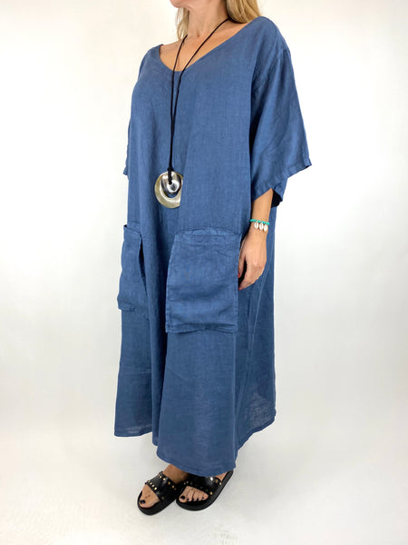 Lagenlook Deana V- Neck Linen Tunic in Denim . code 8588