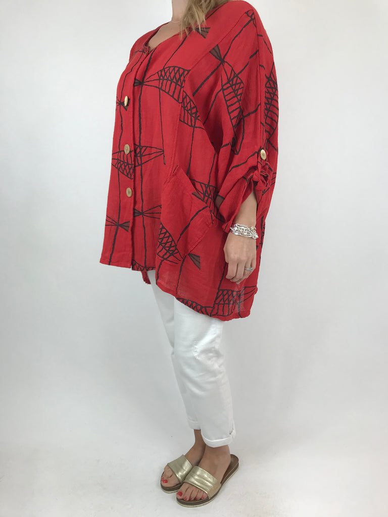 Lagenlook Quirky Patterned Top Jacket in Red. code 39112