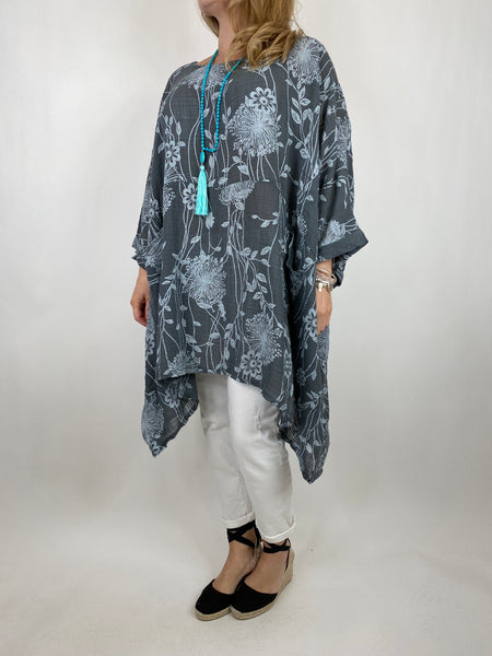 Lagenlook Rachel Flower Top In Charcoal. code 6363