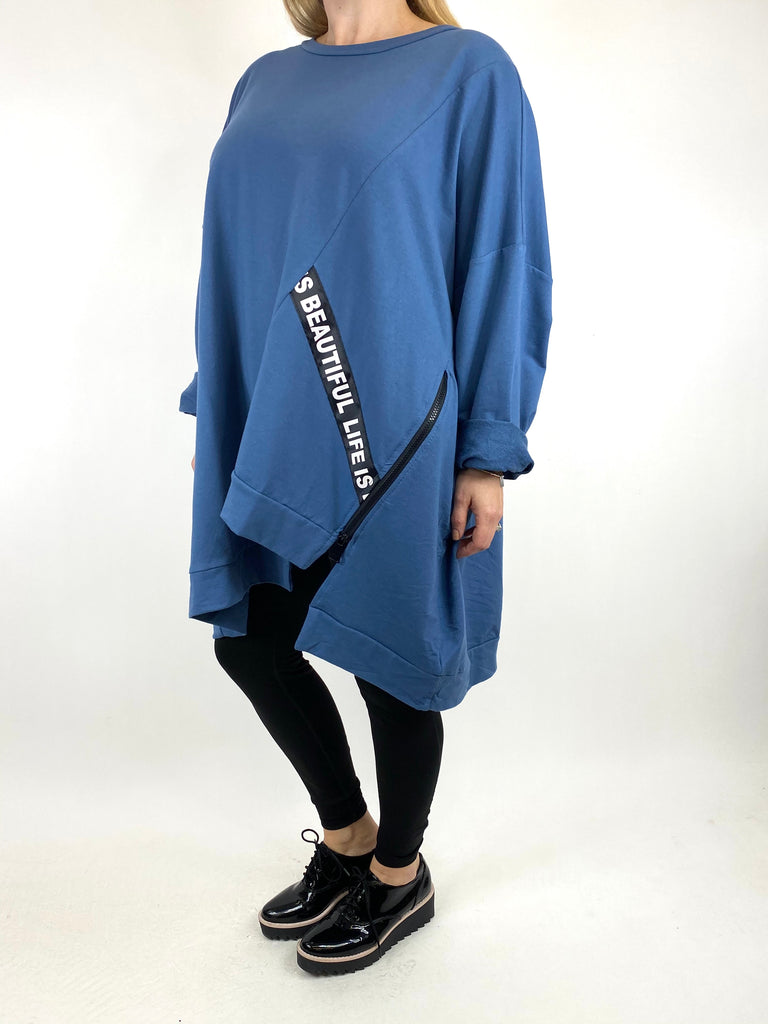 Lagenlook Langdon Tape Sweatshirt in Denim. code 91169 - Lagenlook Clothing UK