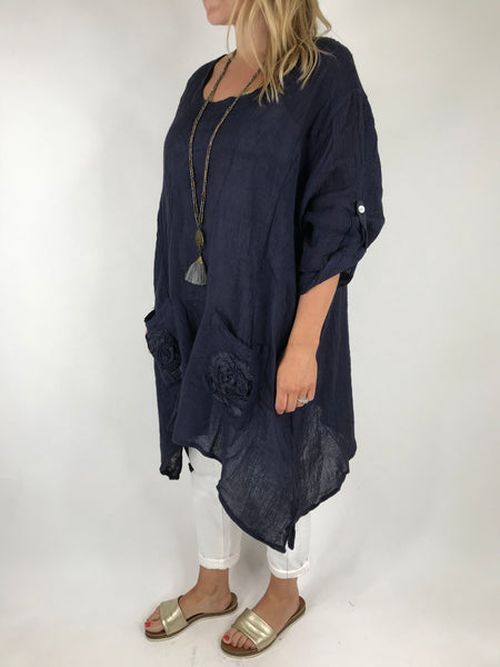 Lagenlook Cheesecloth Swirl pocket Linen in Navy. code 5803