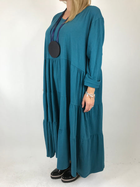 Lagenlook Evie Plain Tunic In Teal. code p9788