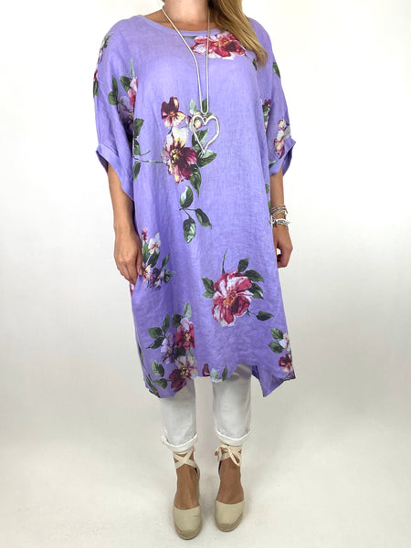 Lagenlook Nikki Summer Flower Tunic in Lilac. code 9618