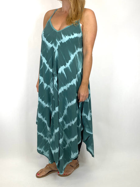 Lagenlook Arlo Tie-Dye Strap Regular Size Top in Sage. code 9437