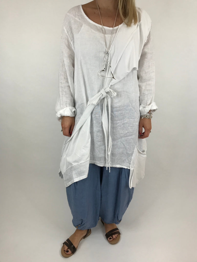 Lagenlook  Linen Quirky Tie Front Top in White. code 5670