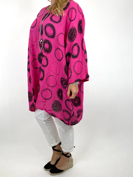 Lagenlook Harper Circle Top in Fuchsia . code 91006C