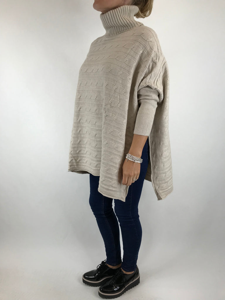 Lagenlook Beth Poncho Cable Textured  Jumper in Winter Cream. code 5106
