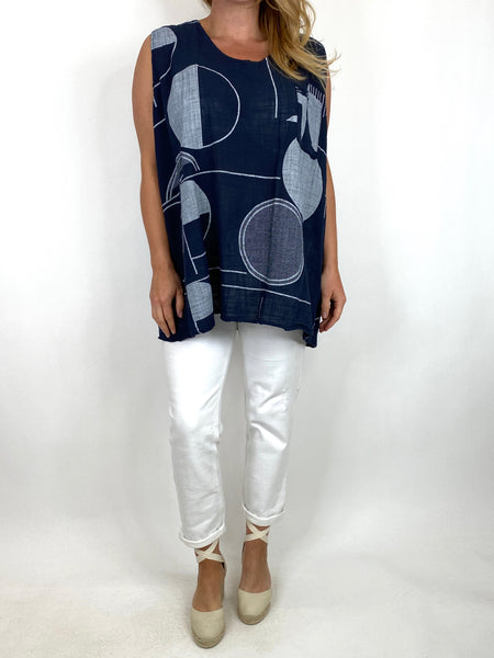 Lagenlook Linen Vest Top in Navy . code 6112