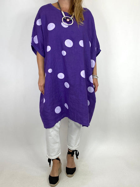 Lagenlook Dot Linen tunic in Purple. code 9619