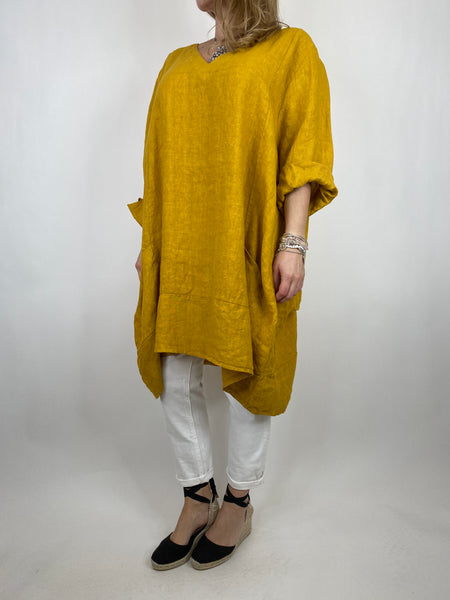 Lagenlook Mykonos V-neck Premium Linen Top in Yellow . code 88176