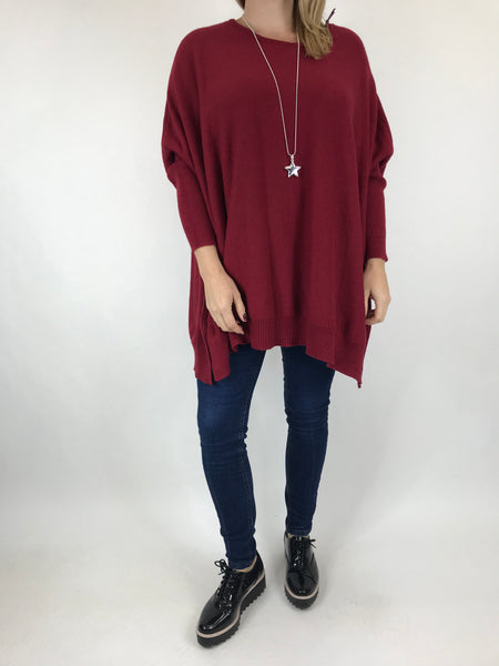 Lagenlook Monty Button Side Jumper in Wine. code 6020