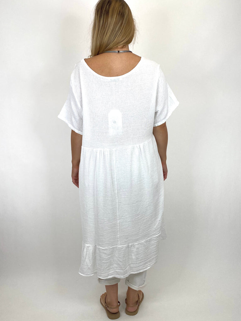 Lagenlook Horton Washed V-Neck top in White . code 10436