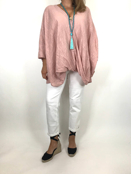 Lagenlook Linen Wrap Top in Pale Pink.code 2087