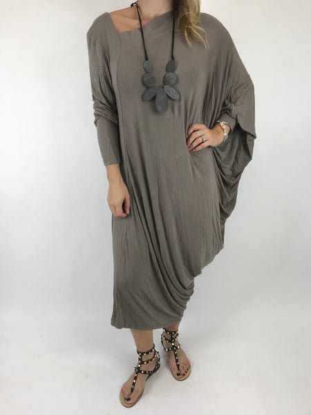 Lagenlook Quirky Angled Jersey Tunic In Mocha. code 9941
