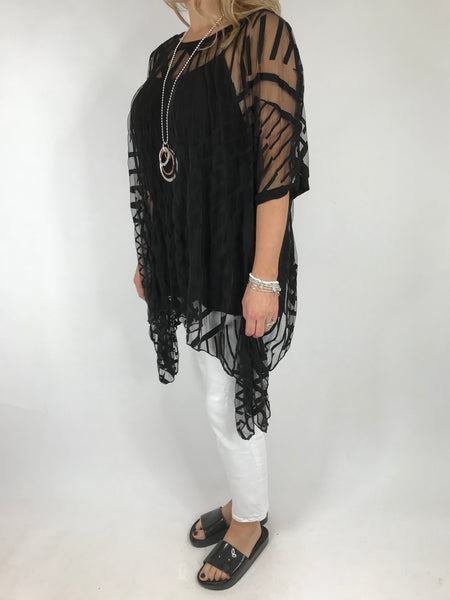Lagenlook Lazer cut Net Layering Top in Black . code 18042