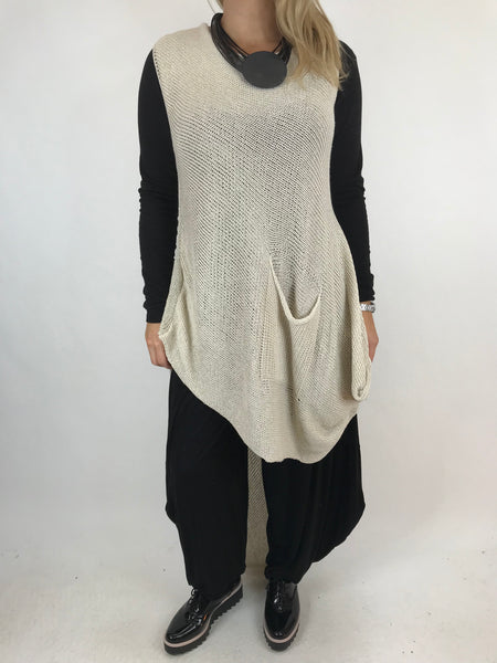Lagenlook 1 Pocket Cotton knit Tank in Natural. code 230