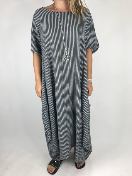 Lagenlook Maria Pinstripe Summer Tunic Dress in Charcoal Grey. code 5299