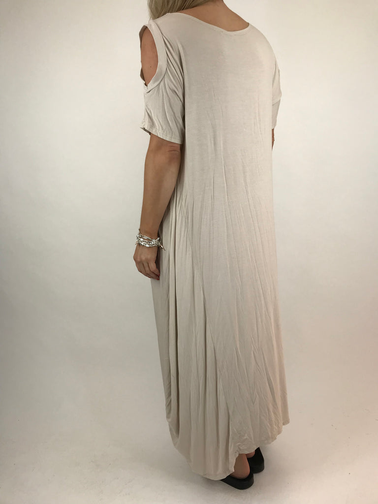 Lagenlook Long Plain Cold shoulder Tunic in Cream. code 1026