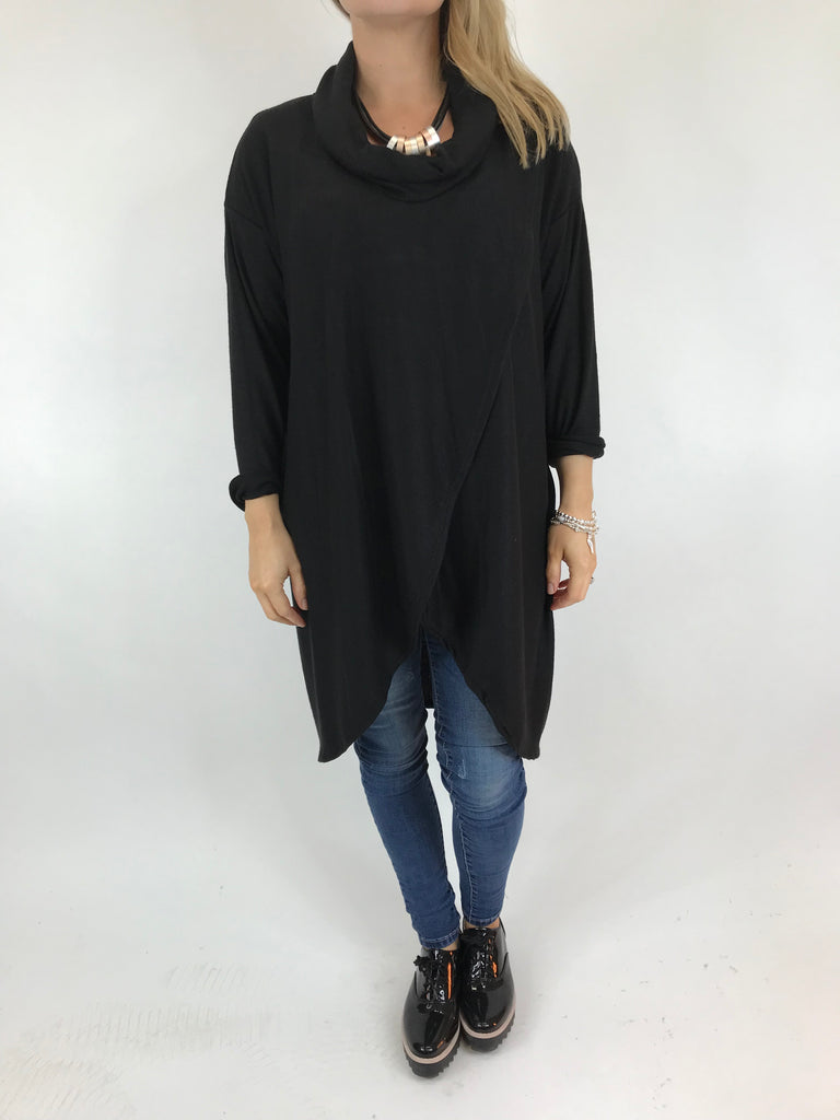 Lagenlook Erin Roll Neck Fold Front Knitted Top in Black. code 5594