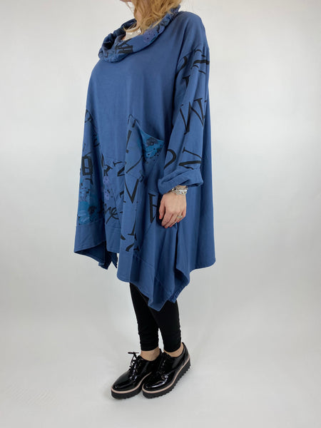 Lagenlook cowl sweatshirt 30+ plus in Denim. code 10256