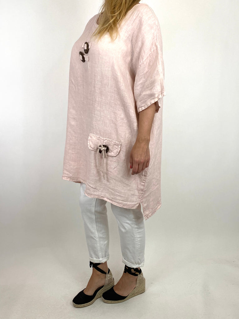 Lagenlook Bea Linen Top In Pale Pink. code 9782 - Lagenlook Clothing UK