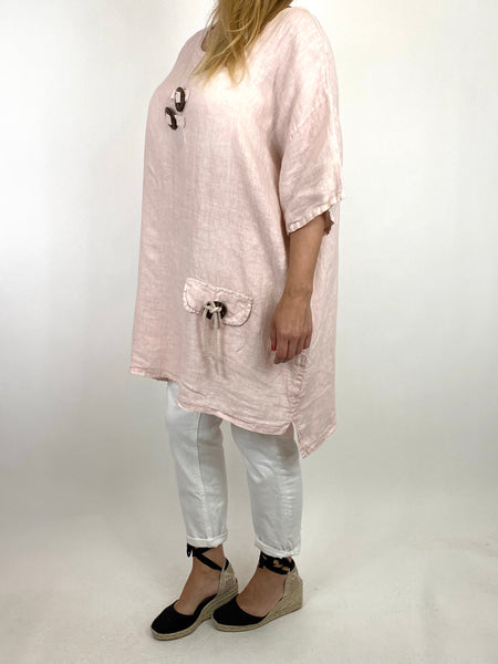 Lagenlook Bea Linen Top In Pale Pink. code 9782