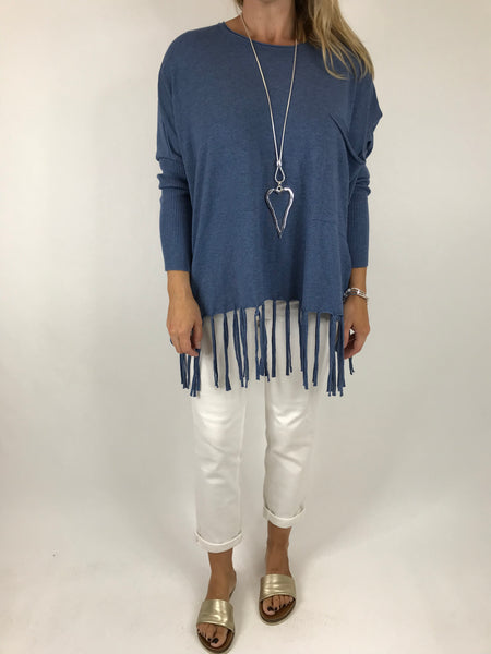 Lagenlook Tibi Tassel Knit Jumper in Denim.  Code 5373