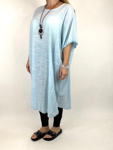 Lagenlook Anto Summer Cotton Tunic in Sky. code 9002 - Lagenlook Clothing UK