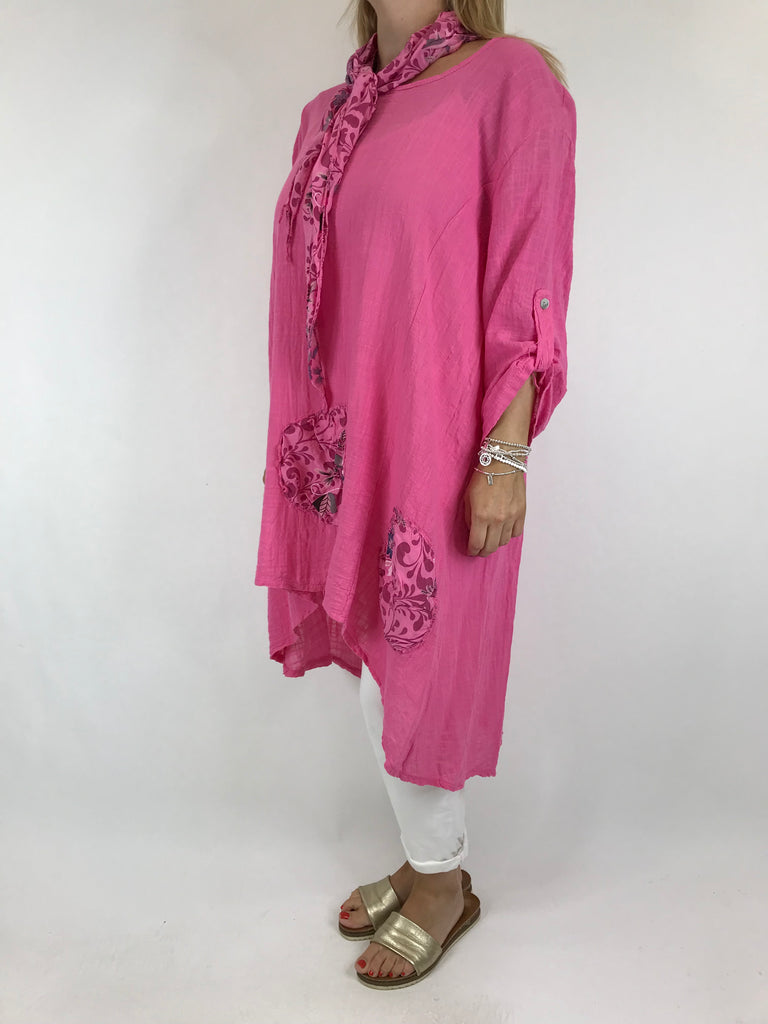 Lagenlook Scarf Flower Top in Fuchsia . code 5700