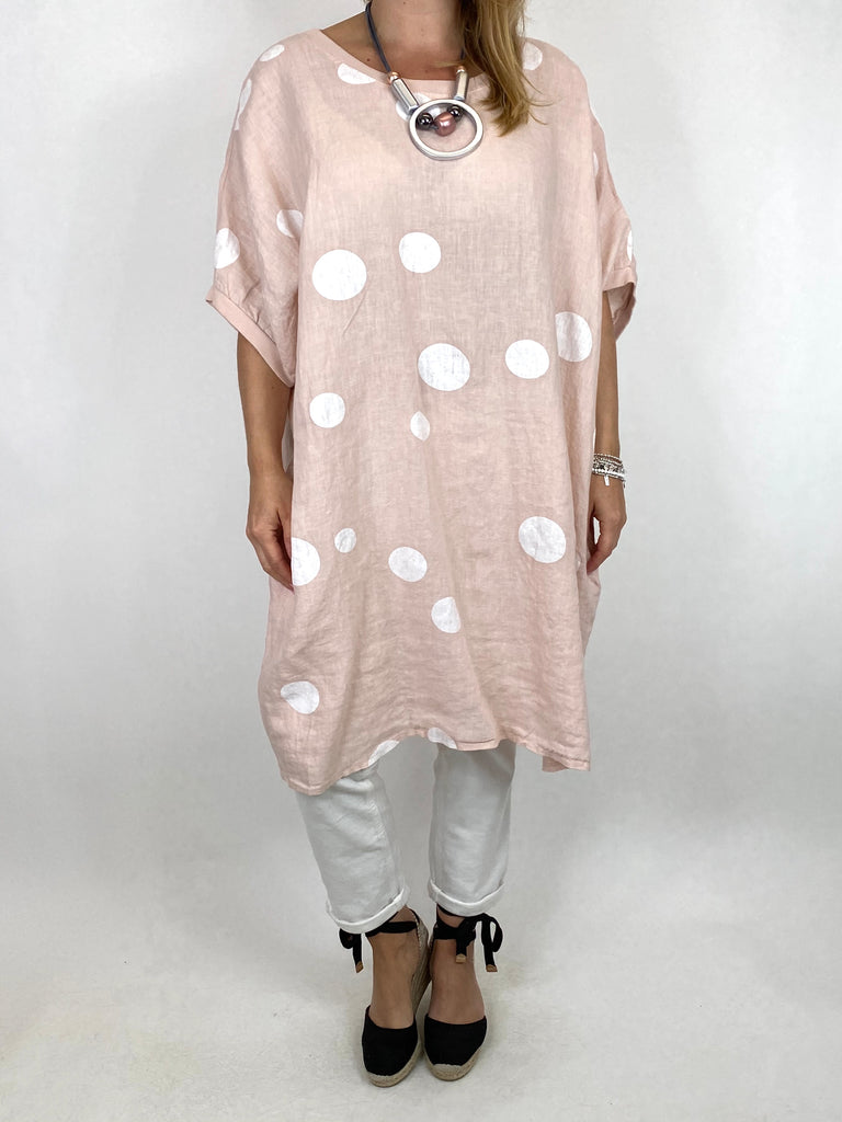 Lagenlook Dot Linen tunic in Pale Pink. code 9619