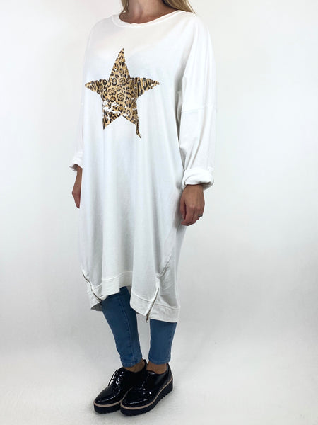 Lagenlook Off centre Star Animal Print Sweatshirt Top in White. code 66065 - Lagenlook Clothing UK